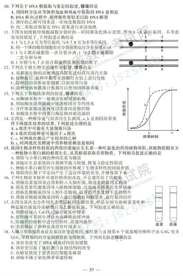 2019江苏高考生物试题及参考答案