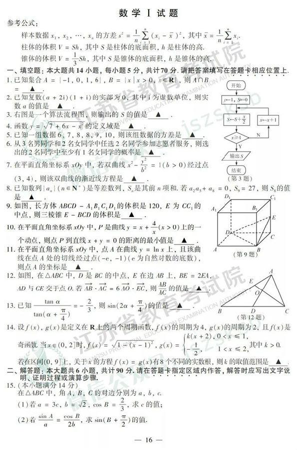 2019江苏高考数学试题及参考答案