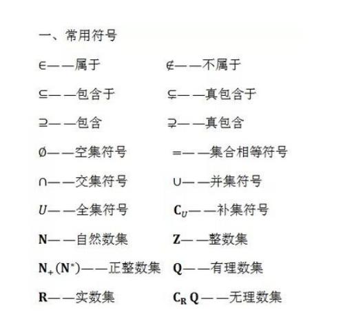2020高考数学公式及定理:数学常用符号