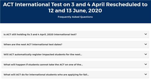 2020年4月ACT考试转至6月