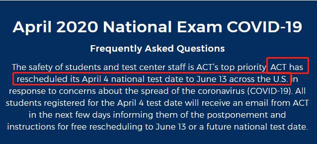 美国4月4日ACT考试将推迟至6月13日进行